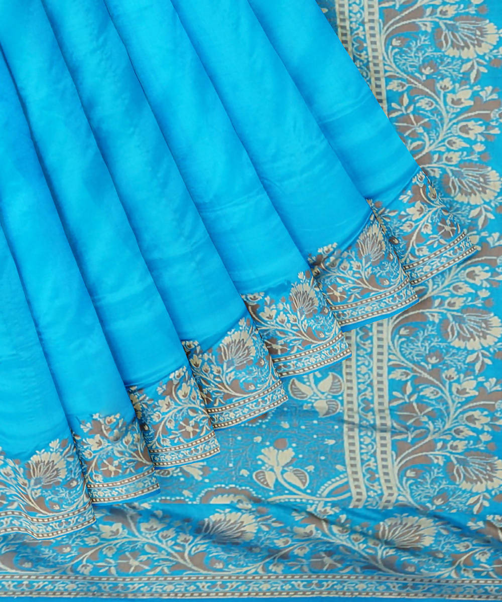 Capri blue handwoven silk banarasi saree