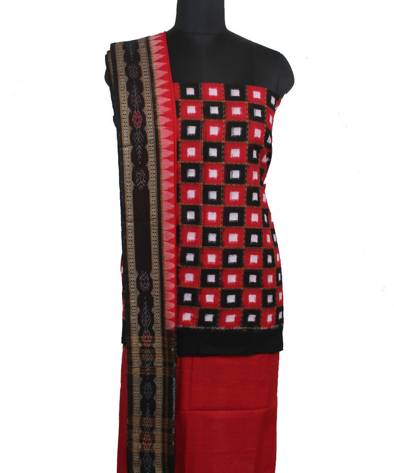 Sambalpuri Black Red Handloom Cotton Suit Set