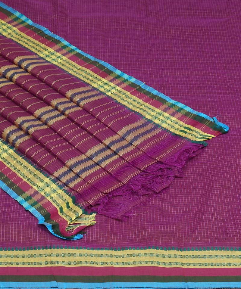 Magenta Handloom Narayanpet Cotton Saree