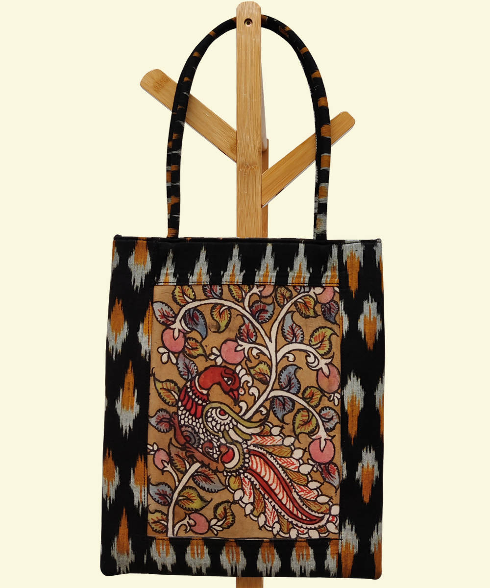 Hand painted kalamkari black ikat tote bag