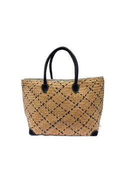 Black Handmade Sitalpati Basket Bag Large