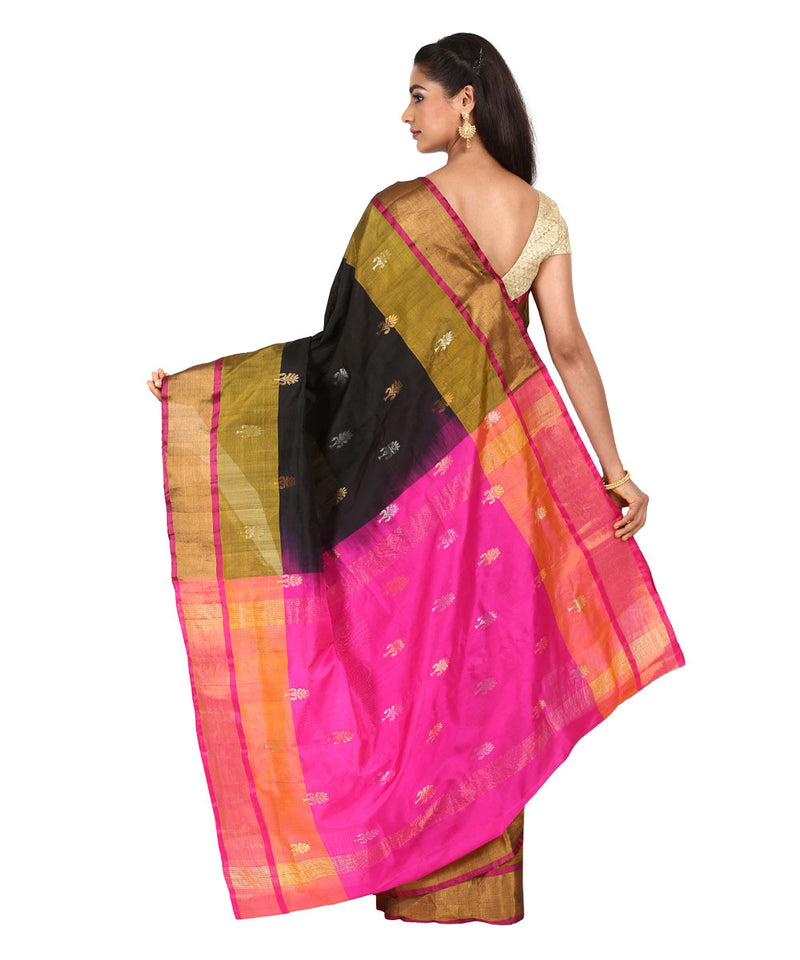 Black and Pink Handwoven Uppada Silk Saree