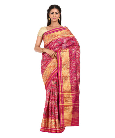 Purple Pink Handwoven Patola Silk Saree