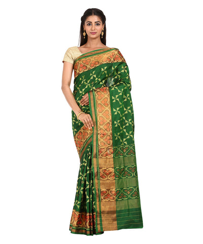 Bottle Green Handwoven Patola Silk Saree