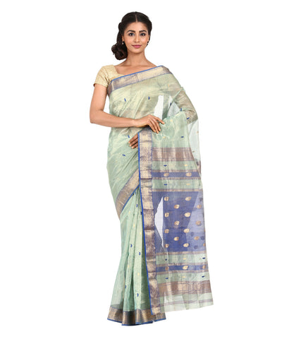 Lime Green Handwoven Maheshwari Silk Saree