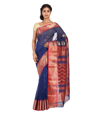 Dark Blue Black Stripe Maheshwari Silk Saree