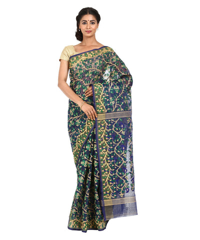 Navy Blue Handwoven Bengal Jamdani Saree