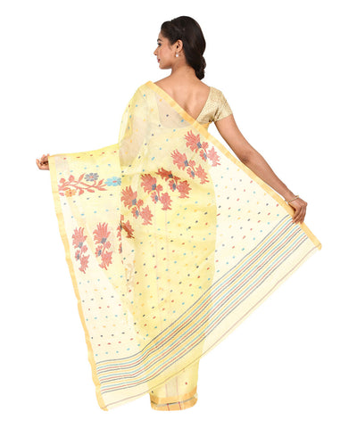 Yellow Handwoven Bengal Jamdani Saree