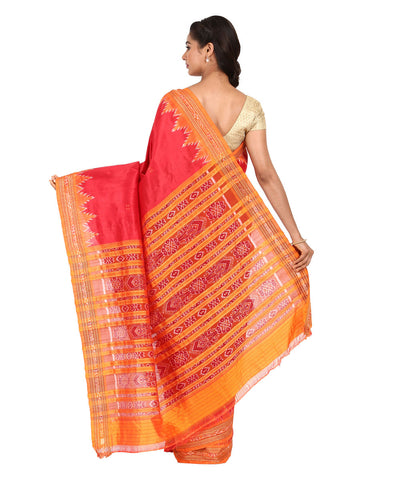 Red and Orange Handwoven Khandua Silk Saree