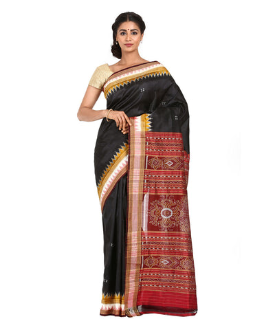 Khandua Handwoven Black Silk Saree