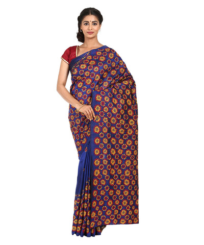 Electric Blue Handcrafted Kantha Stitch Saree