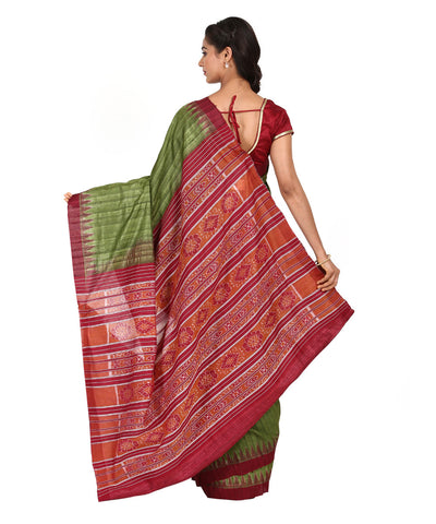 Green and Maroon Handwoven Silk Saree