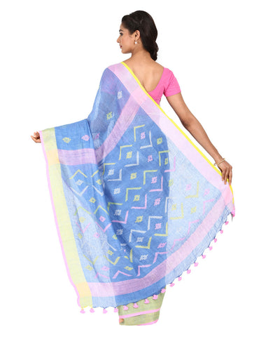 Sky Blue Handwoven Linen Saree