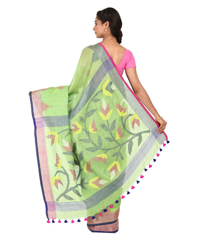 Parrot Green Handwoven Linen Saree