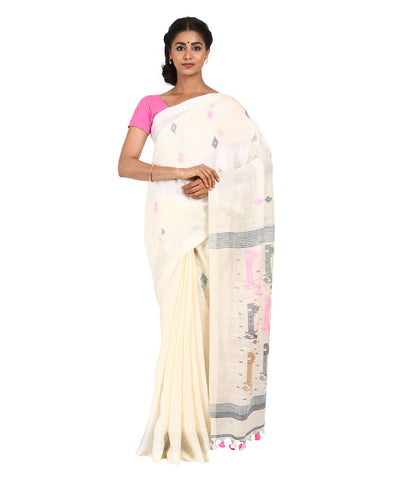 White Handwoven Linen Saree