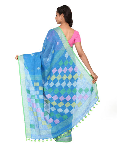 Blue Checkered Handwoven Linen Saree