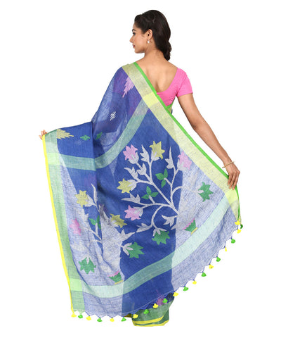 Navy Blue Linen Handwoven Saree