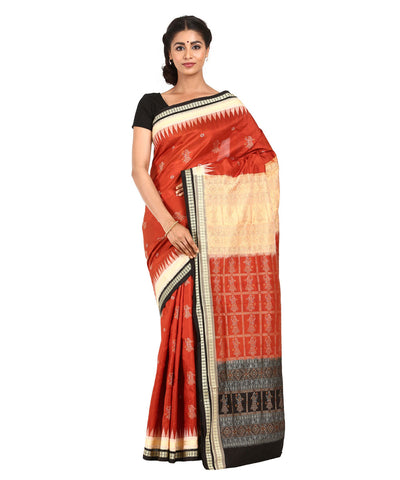 Rust Brown Handwoven Bomkai Silk Saree
