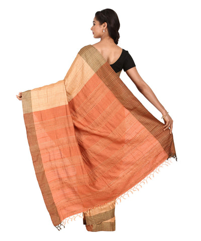 Golden Orange Handwoven Tussar Silk Saree