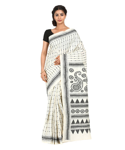 White Handcrafted Kantha Stitch Saree