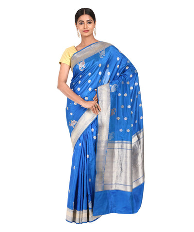Navy Blue Handloom Banarasi Kathan Silk Saree