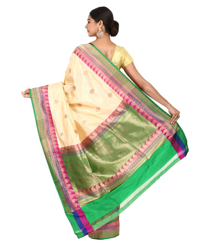 Off White Handloom Banarasi Kathan Silk Saree
