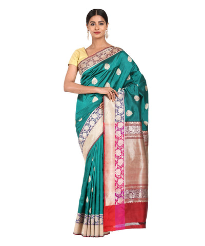 Bottle Green Handwoven Banarasi Kathan Saree