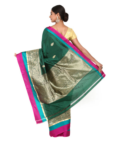 Dark Green Handwoven Banarasi Kathan Saree
