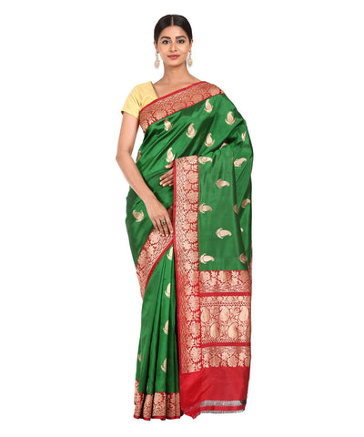 Green Handwoven Banarasi Kathan Silk Saree