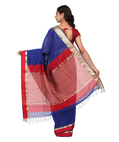 Navy Blue Handwoven Maheshwari Silk Saree