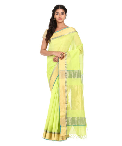 Handwoven Lime Green Maheshwari Silk Saree