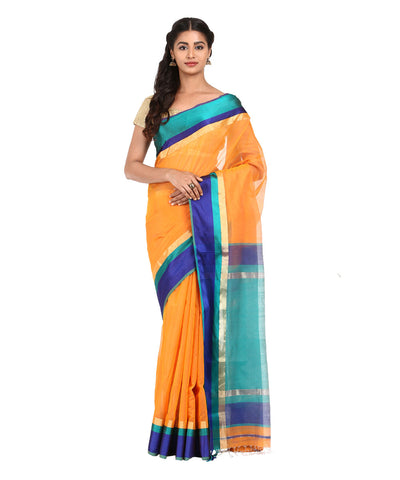 Orange Handwoven Maheshwari Silk Saree