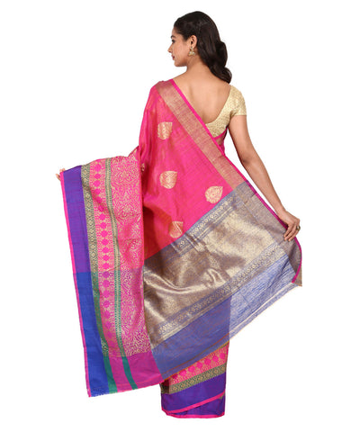 Pink and Blue Handwoven Banarasi Silk Saree