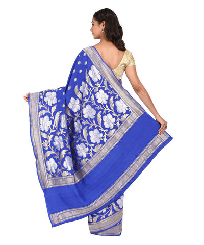 Navy Blue Handwoven Banarasi Muga Silk Saree