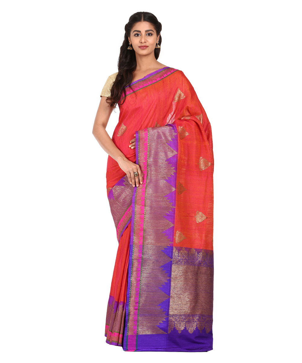 Red and Orange Handwoven Banarasi Silk Saree