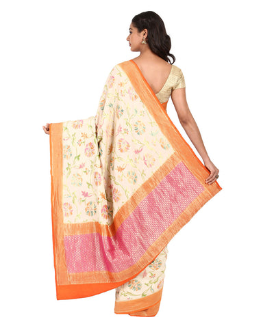 Off White Handwoven Banarasi Muga Silk Saree