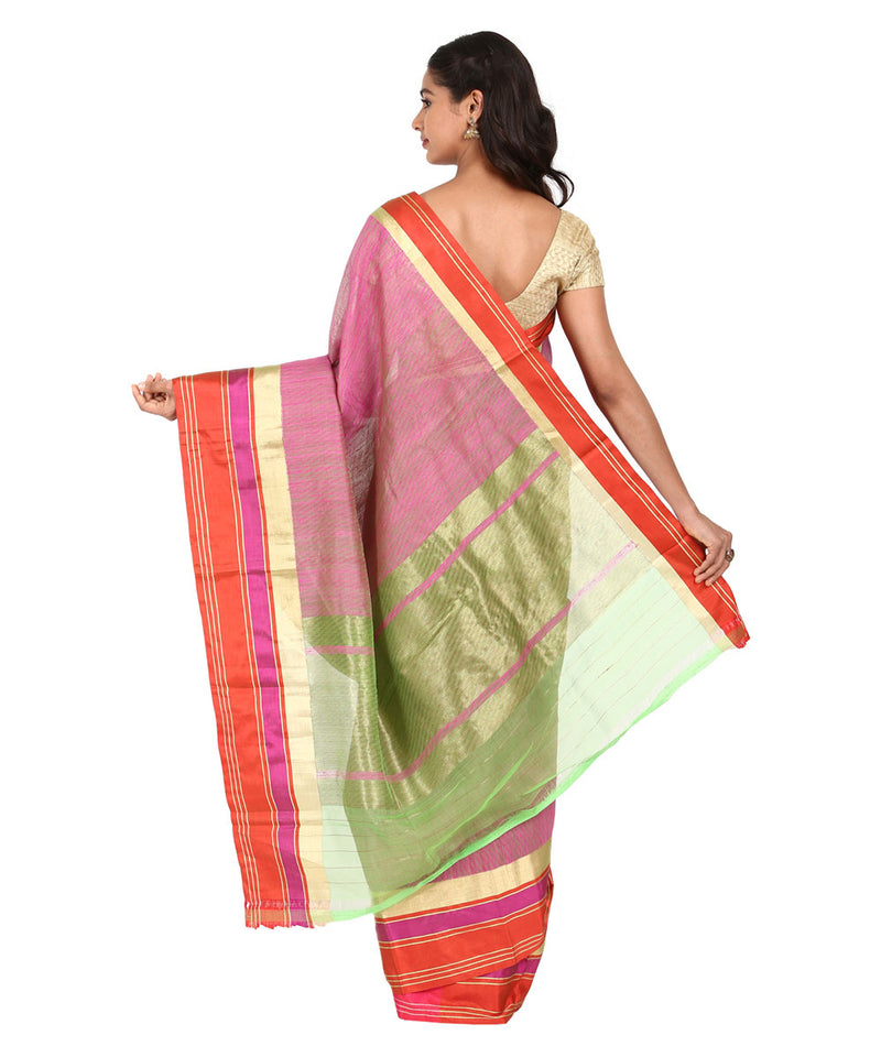 Pink Green Handwoven Banarasi Silk Saree