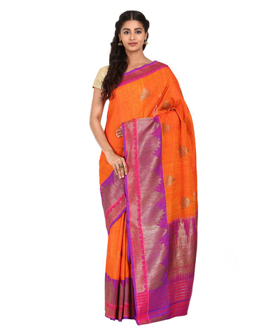 Orange Purple Handloom Banarasi Dupion Saree