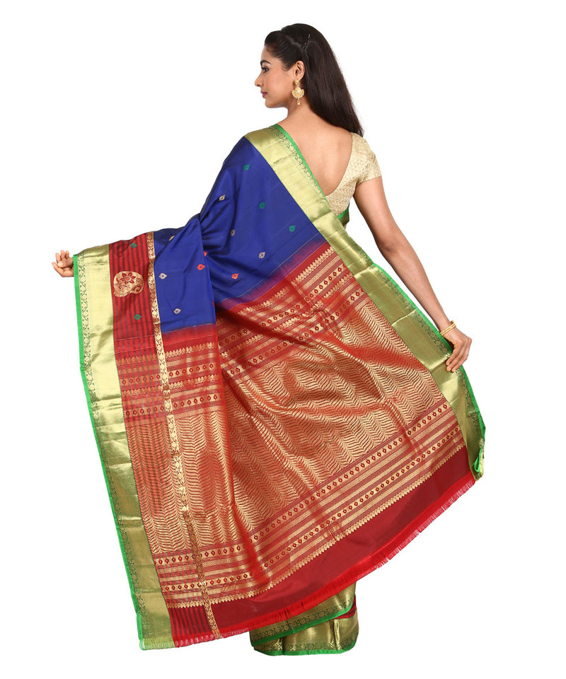 Blue Maroon Handwoven Arani Silk Saree