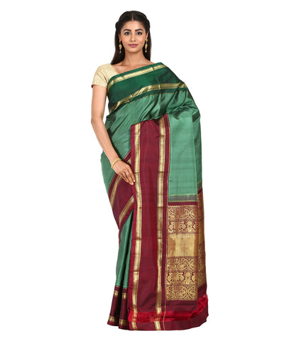 Light Green Handwoven Molkalmuru Silk Saree
