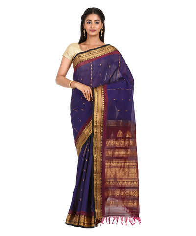 Dark Navy Blue Handwoven Gadwal Sico Saree