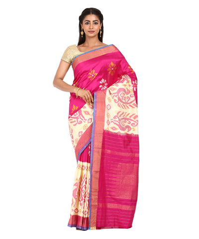 Pink Handwoven Pochampally Ikat Silk Saree
