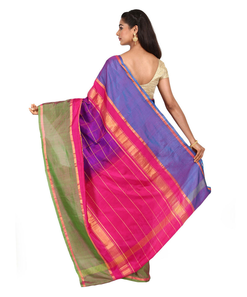 Purple Checks Handwoven Uppada Silk Saree