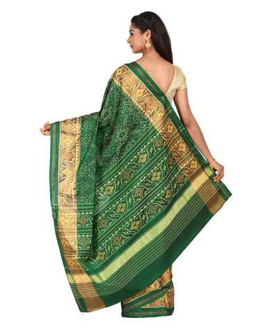 Handwoven Bottle Green Patola Silk Saree