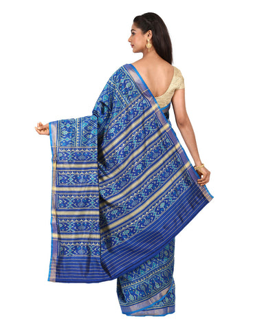 Patola Navy Blue Handwoven Silk Saree