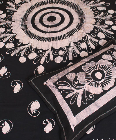 Black Batik Printed Handwoven Cotton Bed Sheet
