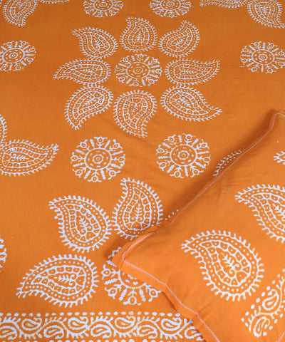 Batik Printed Yellow Orange Handwoven Cotton Bed Sheet