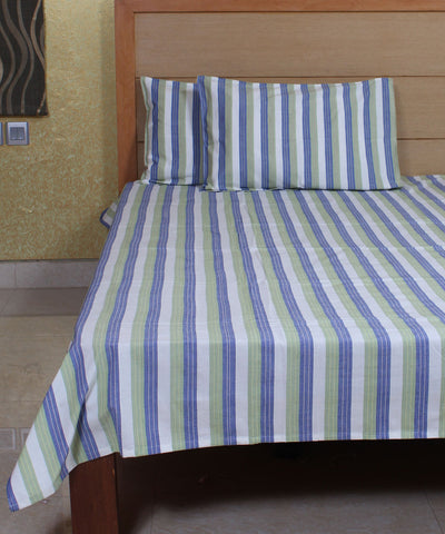 Striped Handwoven Cotton Bed Sheet