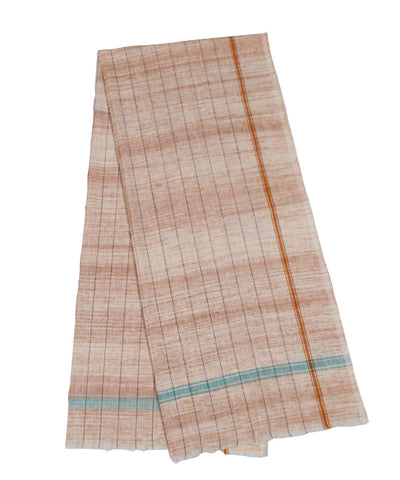 Orange Handloom Striped Khadi Cotton Towel