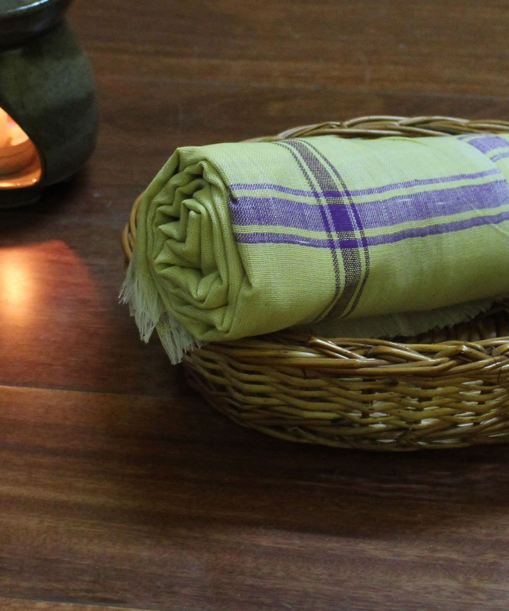 Lemon yellow handspun cotton handwoven towel